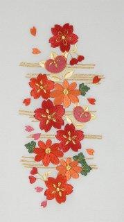 白羽二重地・桜橘刺繍