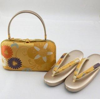 草履バッグセット(金地に唐草・梅・菊)Lサイズ