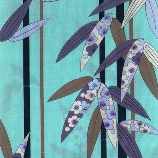 桜七軒浴衣反物・水色に笹梅