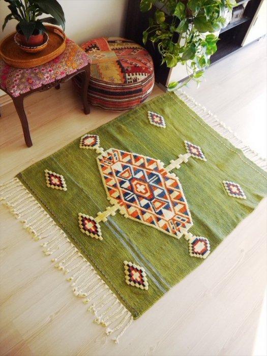 オールドキリム グリーン キリムと絨毯のミックス 約120×101