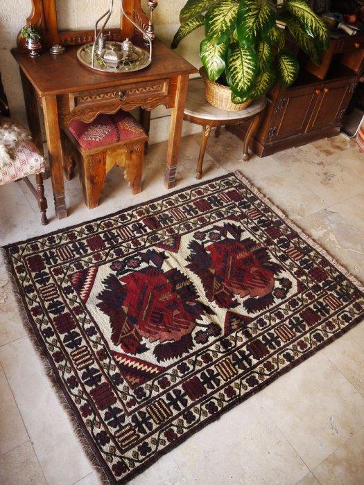 オールドキリム バルーチ スマック×パイル織 約150×121