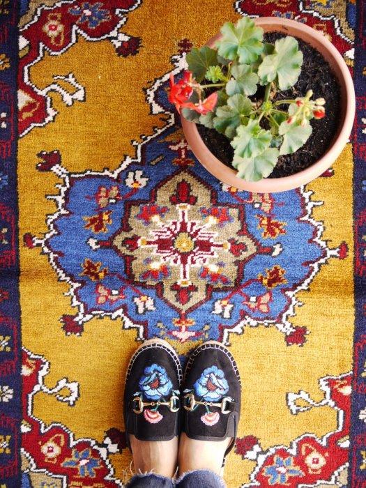 ヴィンテージラグ 手軽にトルコ絨毯 ヤヒヤル 約107×70