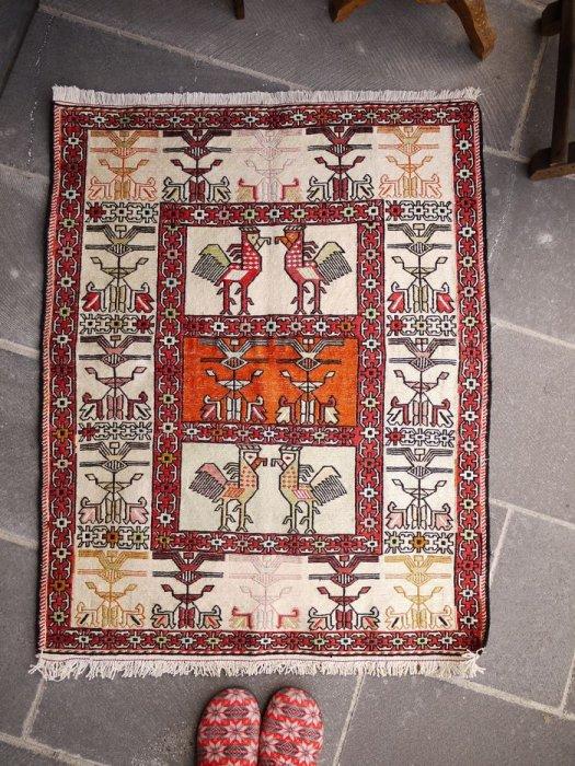 オールドキリム イランスマックピーコックデザイン 約101×79
