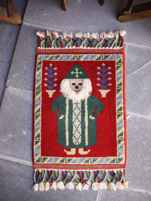 オールド絨毯 サンタクロースラグ  約55×42