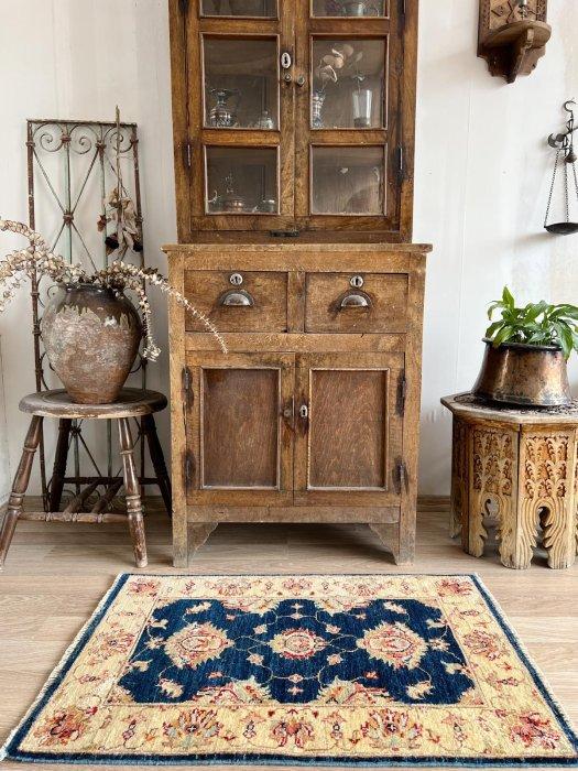 新しい絨毯 ウシャク 美しいブルー 小さいサイズ 約90×62