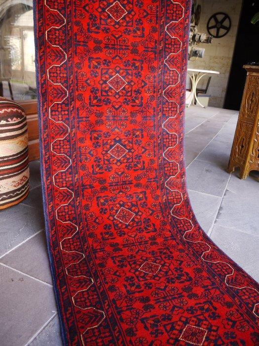 新しい絨毯 大人の絨毯 アフガン ビリジック ランナー  約196×64