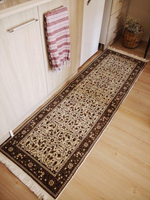 オールド絨毯 ナチュラルカラーのカイセリ ランナー 約192×62