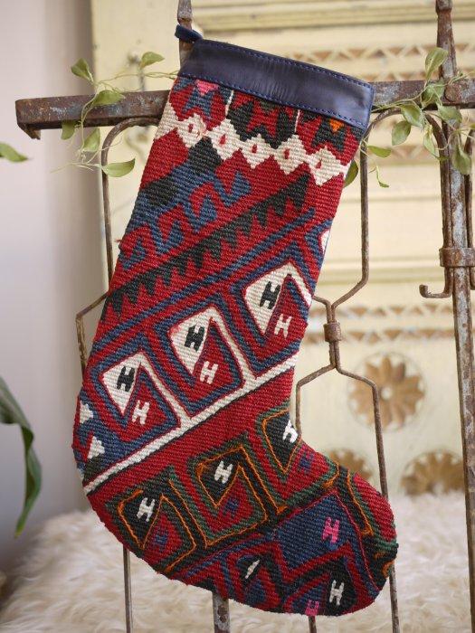 オールドキリムクリスマスブーツ068