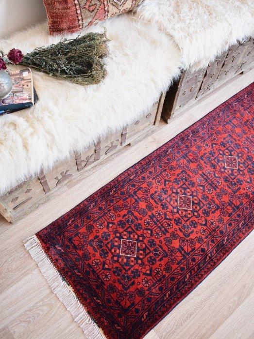 新しい絨毯 大人の絨毯 アフガン ビリジック ミニランナー  約150×55