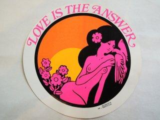 1970 LOVE IS THE ANSWER Sticker Deadstock