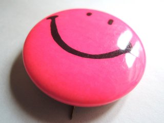 1970's Smiley-Face Pinback Button PINK