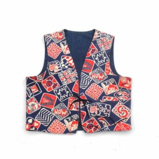 <img class='new_mark_img1' src='https://img.shop-pro.jp/img/new/icons44.gif' style='border:none;display:inline;margin:0px;padding:0px;width:auto;' />1960's Zodiak Pattern & Denim Reversible Vest by The Guys