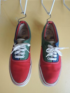 1980's FACONNABLE multi-color Canvas Shoes MADE in USA