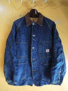 1940's Auto Brand denim chore jacket with cotton blanket