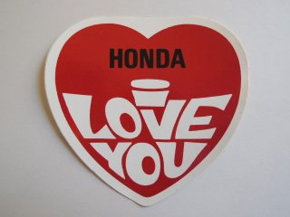1970's HONDA I LOVE YOU Sticker DEADSTOCK