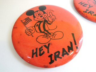 1979 HEY IRAN! middle-finger Parody PINBACK BUTTONs