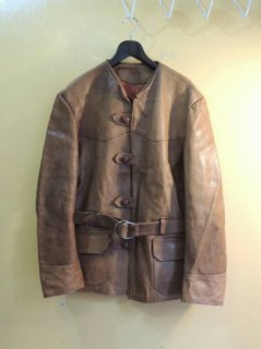 1970's No Collar Craft Leather Jacket