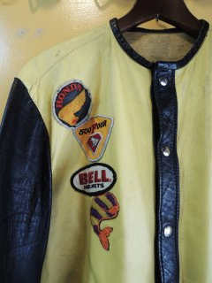 1970's CUSTOM-MADE LEATHER MOTORCYCLE JACKET with PATCHes