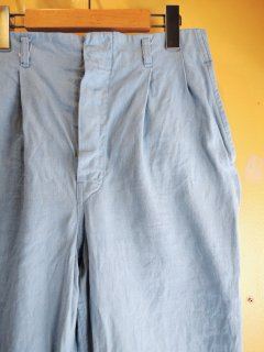 1960's BABY-BLUE 2-tuck COTTON PANTs with HANDSTITCH