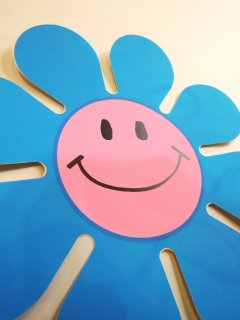 1960's SMILEY-FACE / FLOWER Stickers DEADSTOCK PINK × LIGHT BLUE
