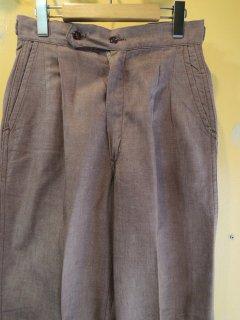 1950〜60's SANFORIZED cotton tuck PANTs DEADSTOCK BRN