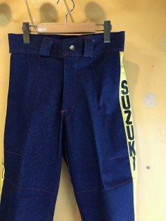1970's denim MOTOCROSS pants by SUZUKI deadstock