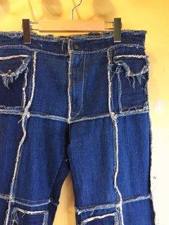 1970's denim patchwork BAGGY pants