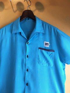 1960's sax-blue rayon BOWLING shirts