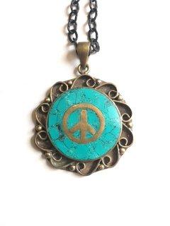 1970's  turquoise blue PEACE-SIGN vintage pendant