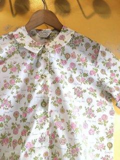1960's flower-prints roll-sleeve blouse by Russ deadstock