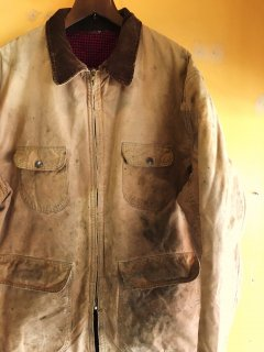 1960's brown duck chore jacket with flannel-lining