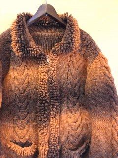 gradation zip wool jacket