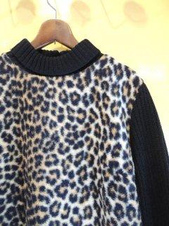 1960's Leopard-Fleece × acrylic-knit JACKET by ROBBIE BEE