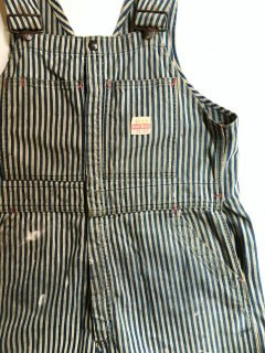 〜1960's oiled-hickory striped overalls by PAYDAY