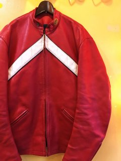 1970's BATES leather jacket RED / WHITE