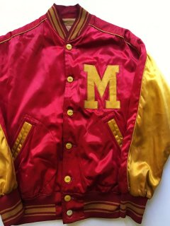 〜1950's button-fly SATIN VARSITY JACKET by
