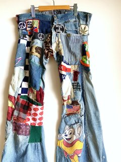 <img class='new_mark_img1' src='https://img.shop-pro.jp/img/new/icons44.gif' style='border:none;display:inline;margin:0px;padding:0px;width:auto;' />1970's patchwork HIPPIE jeans by ELY