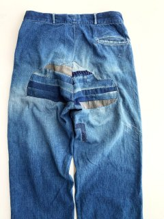 〜1930's denim trousers with patchwork repairs