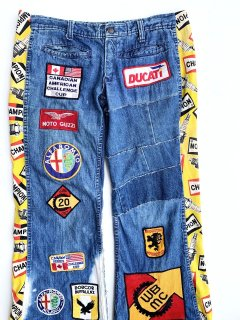 1970's bell-bottom JEANs with motorcycle PATCHes