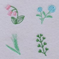 ワンコイン・デザインPack86(ミニミニモチーフB 4種類/すずらん、薔薇、麦、ナズナ)刺繍データ