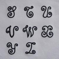 ワンコイン・デザインPack92(手刺繍風3DアルファベットA-3 [S〜Z] 8文字)刺繍データ