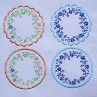 ワンコイン・デザインPack94(お花のリースコースターA  4種類)刺繍データ