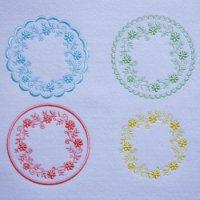 ワンコイン・デザインPack95(お花のリースコースターB  4種類)刺繍データ