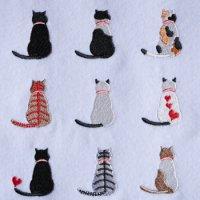 ワンコイン・デザインPack97(猫ちゃん後ろ姿A  9種類)刺繍データ