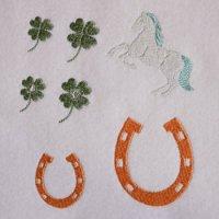 ワンコイン・デザインPack118(ラッキーアイテム・馬・馬蹄・クローバー  7種類)刺繍データ