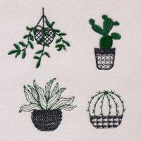 ワンコイン・デザインPack119(ボタニカルモチーフA  観葉植物・サボテン  4種類)刺繍データ