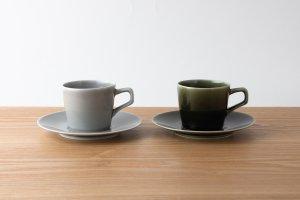 OVAL | カップ&ソーサー グレー・オリベ 2ヶセット