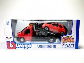 【直輸入品】ブラゴ 1/43 FLATBED TRANSPORT フィアット500 (レッド)