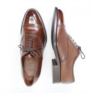 """""""美品"""" Franceschetti(フランチェスケッティ)Semi Brogue Shoes(セミブローグ シューズ)Size:41.5(UK7.5) ブラウン"""