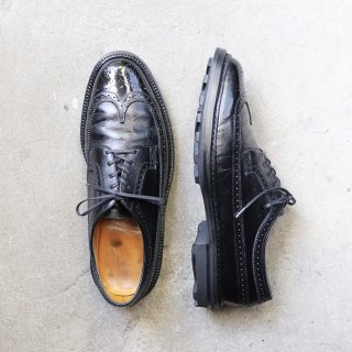 """<img class='new_mark_img1' src='https://img.shop-pro.jp/img/new/icons1.gif' style='border:none;display:inline;margin:0px;padding:0px;width:auto;' />""""美品"""" FLORSHEIM(フローシャイム)Long Wingtip(ロングウイングチップ)Imperial Quality  US9.5 D Kenmoor シボ革 黒 92604 70s"""